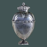 Antique Scandinavian Spice Marriage Box Crowned Heart Sterling Silver 18th Century