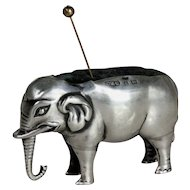 Great English 19th century silver elephant pincushion Birmingham sterling