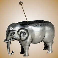 Great English 19th century silver elephant pincushion Birmingham sterling