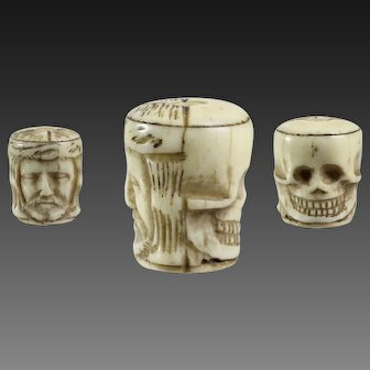 Antique 18th century FRENCH Double faced JESUS and skull carved  Bone Pendant Rosary Bead