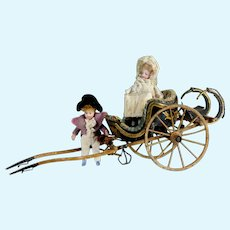 Museum Item antique 1830 French Miniature GIG carriage Lilliputian Mignonette porcelaine doll display