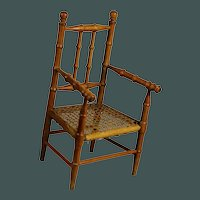 """Beautiful Antique French small 14.6"""" faux-bamboo Arm chair for bisque doll"""
