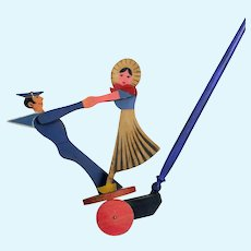 Wonderful Early 1920's French Wooden Pull Toy semi mechanical dancing sailor & French girl