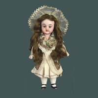 "Unusually tiny 5.7 ""antique all-bisque mignonette German Simon & Halbig doll 887 French market"