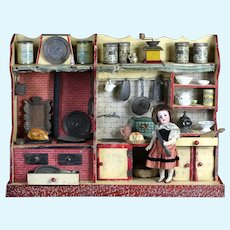 Antique wooden cabinet doll kitchen with tin & 42 Accessories /4 Marklin blue & white container