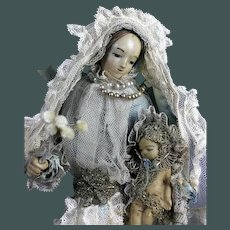 Folk art antique mid19th century French poured wax doll Maria with child Jesus Christ religious