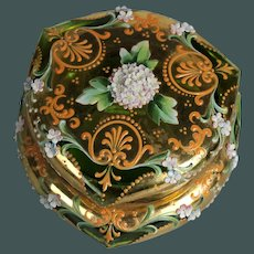 Antique Rare shape MOSER box green Glass Casket applied high relief flowers and leaves