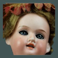 "Beautiful small Armand Marseille 390 Antique Bisque Doll 10"" Blue Eye & fully jointed body"