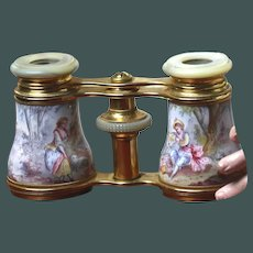 French 19th century enamel romantic figural opera glasses with Mother of Pearl & Ormolu