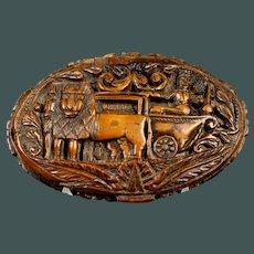Unique Antique carved Coquilla nut snuff box France c. 1790