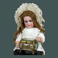 "Large 4.7"" French antique 1880  beveled glass bronze jewel casket vitrine trinket box"