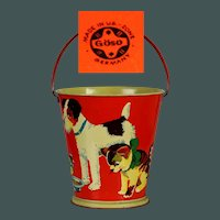 Vintage Great sized child tin sand bucket / pail 1945 - 1952 US ZONE Göso Germany