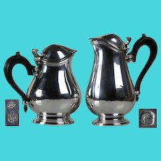 Great design Antique Art Deco solid silver Christofle set of jugs