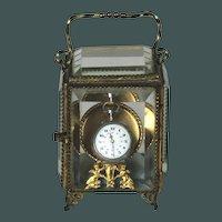 Unusual Antique French ormolu Beveled Glass Trinket Box Casket Vitrine Porte Montre C. 1880