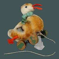 "ca.1950 small 7"" Duck Steiff bumps hobbel on wheel mohair stuffed pull toy"
