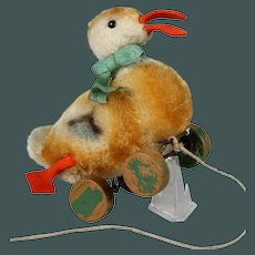"ca.1950 small 7"" Duck Steiff bumps hobbel on wheel mohair stuffed pull toy"