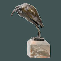 Amazing antique Bronze Ibis Bird detailed sculpture
