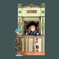 """Antique tiny 28"""" 19th. Century French doll size Guignol 1 puppet Theater"""