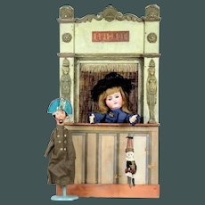 "Antique tiny 28"" 19th. Century French doll size Guignol 1 puppet Theater"