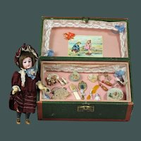 "Marvelous Antique French presentation box two layers 8.3""mignonette German doll, Simon & Halbig Bisque head 1079"""