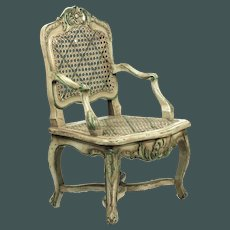 "Antique  French miniature 20"" arm chair 19th c. Regence style (1715-1723) porcelain French or German doll"