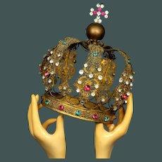 "Magnificent Life Size  9"" Antique Gilded Bronze French Religious Santos crown Napoleon III Era"