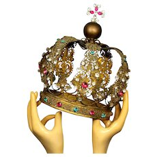 "Magnificent Life Size  9"" Antique Gilded Bronze French Religious Santos crown Napoleon III Era"