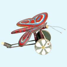 1920's Funny & Unusual Art Deco French wooden pull toy on wheel flying butterfly semi mechanical