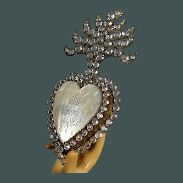 Impressive Enormous antique 19th century French LOCKET Jeweled & Mother of Pearl Flaming Sacred Heart Ex Voto