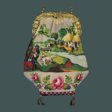 Museum item Antique 1819 -1838 French Paris gold on silver scenic purse rare scene micro bead bag Handbag