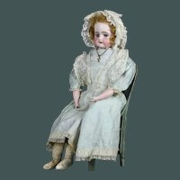 "Sweet Heart 19th century huge 26.5"" and big blue eyes antique Bisque German doll Bahr & Proschild"