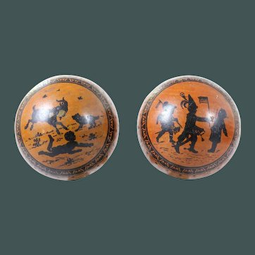 2 rare German Antique 1890 litho tin play ball penny toy candy container tinplate