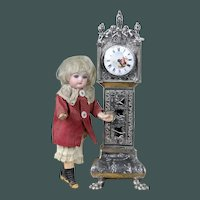 "Amazing quality antique doll 1903 Dutch solid silver 9.2"" miniature dollhouse mignonette Grandfather clock French style"