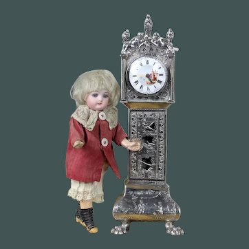 """Amazing quality antique doll 1903 Dutch solid silver 9.2"""" miniature dollhouse mignonette Grandfather clock French style"""