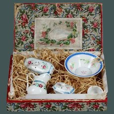 "Antique tiny 2.7"" French Doll's Toilet set in Presentation Box Porcelain Wash Bowl and Jug"