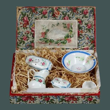 """Antique tiny 2.7"""" French Doll's Toilet set in Presentation Box Porcelain Wash Bowl and Jug"""