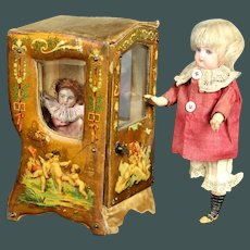 Wonderful Antique  French Miniature sedan chair 19th Century Doll Vitrine Boudoir Carriage accessorie by mignonette
