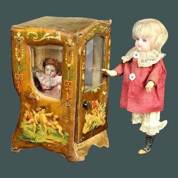 Wonderful Antique  French Miniature sedan chair 19th Century Doll Vitrine Boudoir Carriage accessorie by mignonette