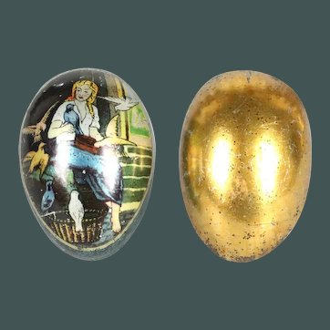 Antique 1890's German fairy tale Cinderella Egg tin llithographed tinplate, penny toy Easter candy container