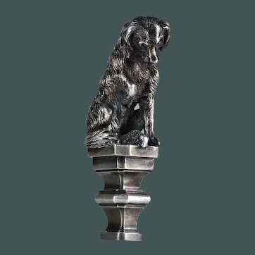Antique French Royal House wax seal desk seal, hunting dog playing with prey silver on bronze