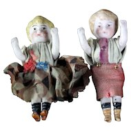 "Two German Antique Miniature 2.3"" all Bisque dolls dollhouse ORIGINAL DRESSED Boy & Girl"