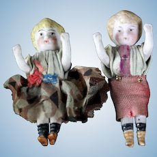 "Two German Antique Miniature 2.3"" all Bisque dolls dollhouse ORIGINAL DRESSED Boy & Girl"
