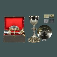 Antique French Sterling silver and vermeil Chalice with original Paten and Box Gothic Style
