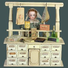 Wonderful Antique German Grocery store ~ shop ~ Epicerie & accessories, Content fashion doll display