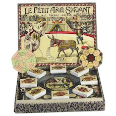 "Rare antique French circus donkey fortune teller game L. Saussine Paris game  ""Le Petit Ane Savant"" from 1895/1910"