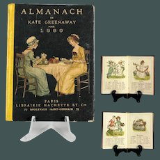 "Antique Paris 1889 Miniature book 4 ""doll book hardcover Almanach Kate Greenaway Paris"