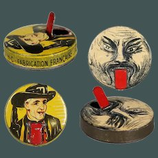 """2 Very special antique French tiny 1.8"""" tongue clip advertising tin penny toy CACHOU  tinplate candy container"""