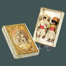 "2 Amazing antique Tiny dolls 2.75 "" Brown tinted all bisque dolls Lilliputians SFBJ in Presentation box"