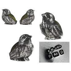 SET of two antique Edwardian sterling silver chick birds sewing pincushion 1906.