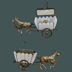 Antique Palais Royal French BACCARAT Opaline Glass sewing Carriage, pincushion thimble holder 19th century